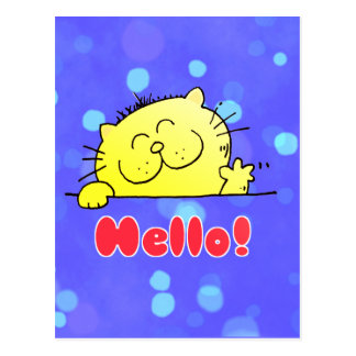 Cute Cartoon Kitty Hello Postcard