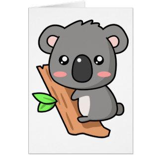 Cute Cartoon Koala Bear on Eucalyptus Tree Card