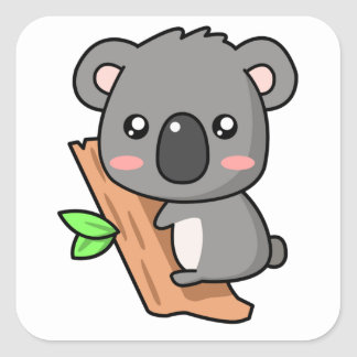Cute Cartoon Koala Bear on Eucalyptus Tree Square Sticker