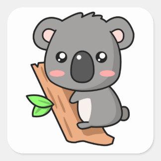 Cute Cartoon Koala Bear on Eucalyptus Tree Square Stickers