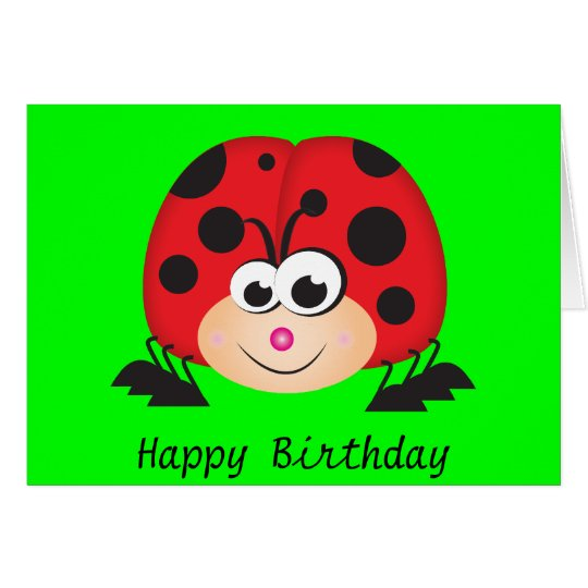 Cute Cartoon Ladybug Card