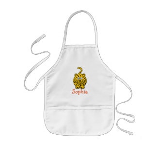 Cute cartoon leopard personalized with childs name kids apron