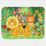 Cute Cartoon Liger and Friends Baby Blanket