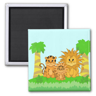 Cute Cartoon Liger with Mummy and Daddy Square Magnet