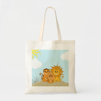 Cute Cartoon Liger with Mummy and Daddy Budget Tote Bag