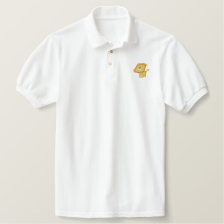 Cute Cartoon Lion embroidery Shirt Embroidered Polo Shirt
