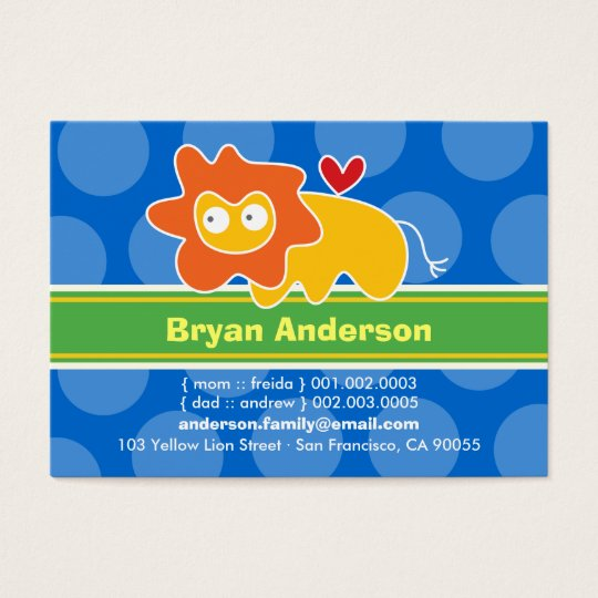 Cute Cartoon Lion Kid Photo Profile Calling Card