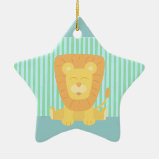 Cute Cartoon Lion with stripes background Christmas Ornament