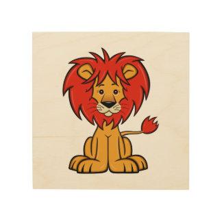 Cute Cartoon Lion Wood Print