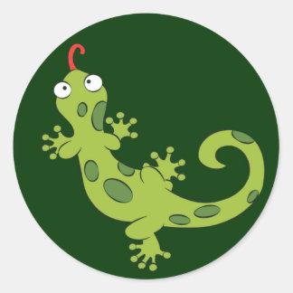 cute cartoon lizard classic round sticker