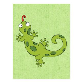 cute cartoon lizard postcard