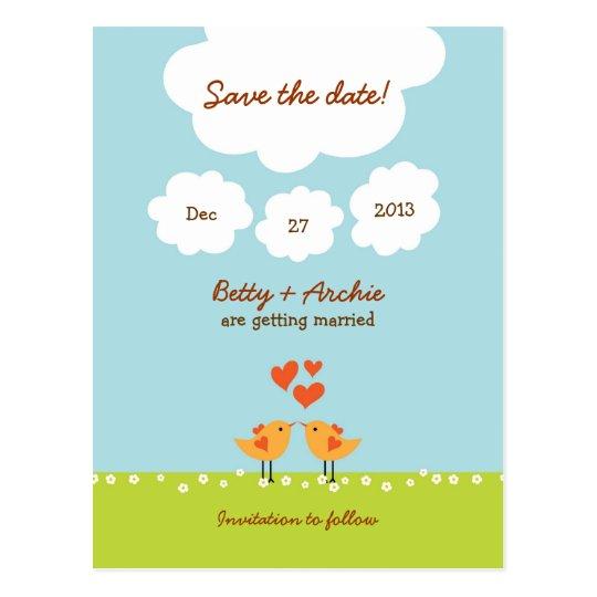 Cute Cartoon Love Birds (Day) Wedding Postcard