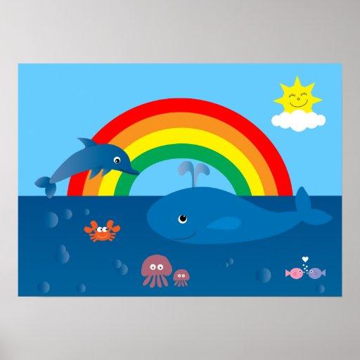 Cute Cartoon Marine Life & Rainbow Custom Poster