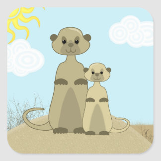 Cute Cartoon Meerkat in a Desert Scene Square Sticker