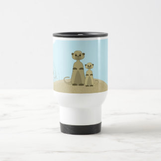 Cute Cartoon Meerkat in a Desert Scene Travel Mug