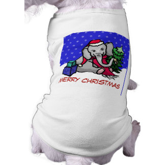Cute Cartoon Merry Christmas Elephant in the Snow Shirt