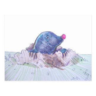 Cute Cartoon Mole and Molehill Postcard