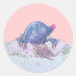 Cute Cartoon Mole and Molehill Round Stickers
