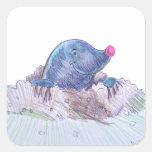 Cute Cartoon Mole and Molehill Square Stickers