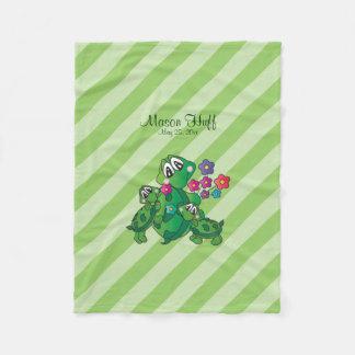 Cute Cartoon Momma Turtle and her Babies Fleece Blanket