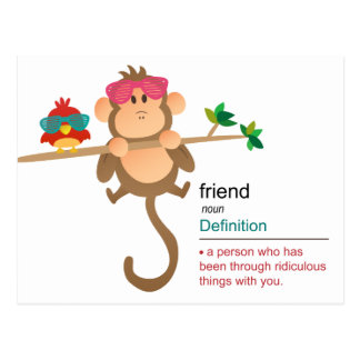 Cute Cartoon Monkey and Bird with Fashion Shades Postcard