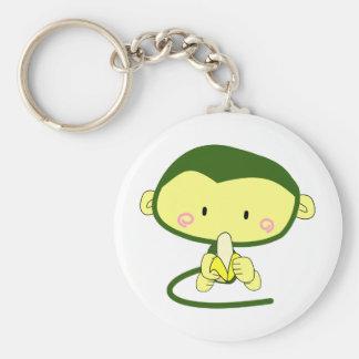Cute Cartoon Monkey Eating A Banana Keychain