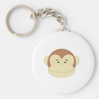 Cute Cartoon Monkey Face Basic Round Button Key Ring
