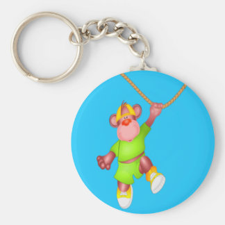 Cute Cartoon Monkey hanging from a Vine Basic Round Button Key Ring