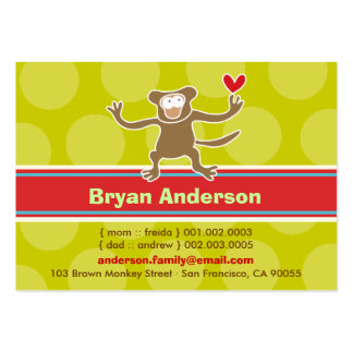 Cute Cartoon Monkey Kid Photo Profile Calling Card Pack Of Chubby Business Cards