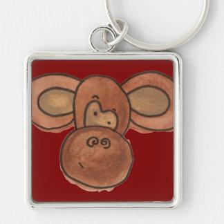 Cute Cartoon Monkey Red Keychain