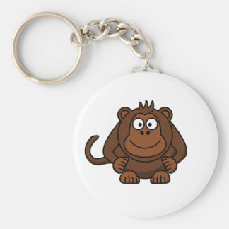 Cute Cartoon Monkey Template Basic Round Button Key Ring