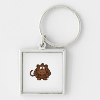 Cute Cartoon Monkey Template Silver-Colored Square Key Ring