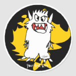 Cute Cartoon Monster Gold Personalised Labels Round Sticker