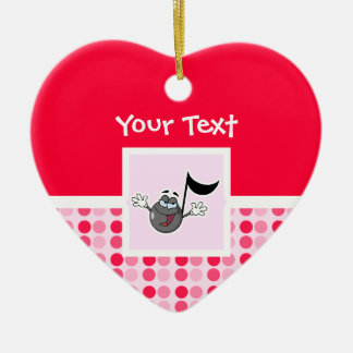 Cute Cartoon Music Note Ceramic Heart Decoration