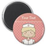 Cute cartoon nurse (blonde) 6 cm round magnet
