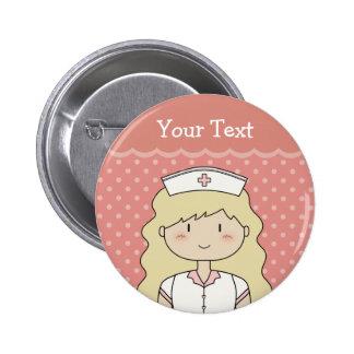 Cute cartoon nurse blonde pinback button