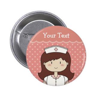 Cute cartoon nurse (brunette) 6 cm round badge