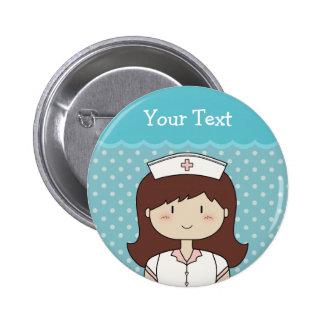 Cute cartoon nurse (brunette), blue 6 cm round badge