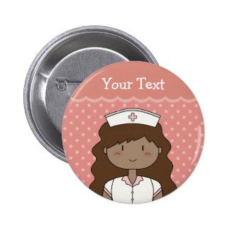 Cute cartoon nurse brunette button