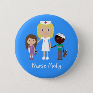 Cute Cartoon Nurse & Children Button