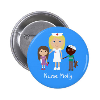 Cute Cartoon Nurse & Children Button
