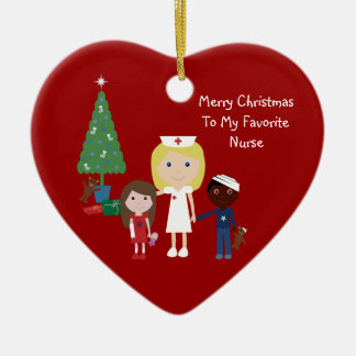 Cute Cartoon Nurse, Children & Christmas Tree Christmas Ornament
