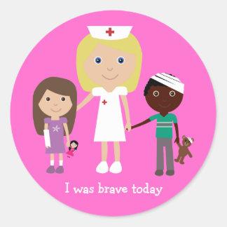 Cute Cartoon Nurse & Children I Was Brave Today Round Sticker
