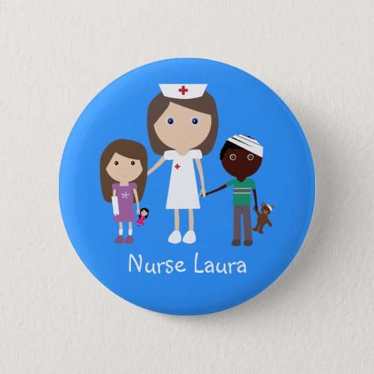 Cute Cartoon Nurse & Children Personalised 6 Cm