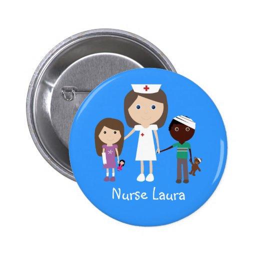 Cute Cartoon Nurse & Children Personalized Pinback Buttons