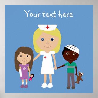 Cute Cartoon Nurse & Children Poster