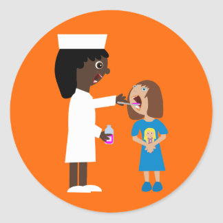 Cute Cartoon Nurse Giving Child Medicine Stickers