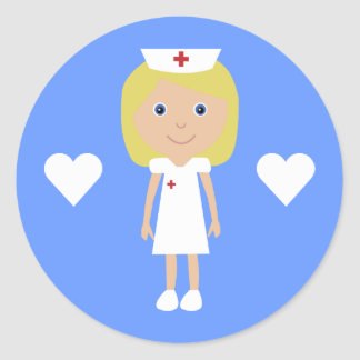 Cute Cartoon Nurse & Hearts Customizable Blue Classic Round Sticker