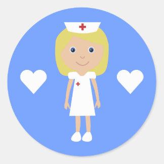 Cute Cartoon Nurse & Hearts Customizable Blue Round Sticker