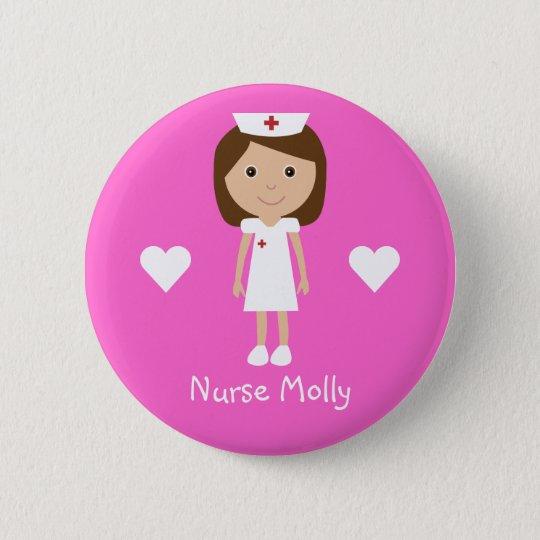 Cute Cartoon Nurse & Hearts Personalised Pink 6